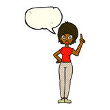 Cartoon woman explaining her point with speech bubble Royalty Free Stock Photo
