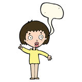 Cartoon woman explaining her point with speech bubble Stock Photography