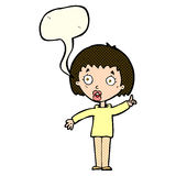 Cartoon woman explaining her point with speech bubble Royalty Free Stock Photography