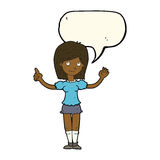 cartoon woman explaining idea with speech bubble Royalty Free Stock Images