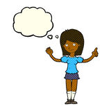 cartoon woman explaining idea with thought bubble Stock Images