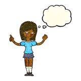 cartoon woman explaining idea with thought bubble Stock Photos