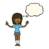 cartoon woman explaining idea with thought bubble Stock Photography