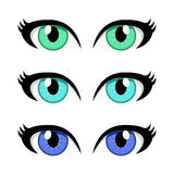 Cartoon woman eyes set isolated on white background stock illustration