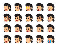 Cartoon woman faces showing different emotions. For design Stock Images