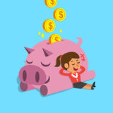 Cartoon woman falling asleep with pink piggy Royalty Free Stock Image