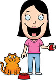 Cartoon Woman Feeding Cat Stock Images