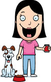 Cartoon Woman Feeding Dog Royalty Free Stock Photography