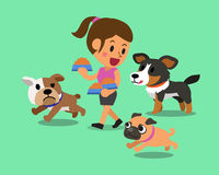 Cartoon woman feeding dogs Stock Image