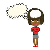 Cartoon woman with folded arms imagining with speech bubble Stock Photography