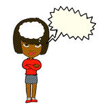 Cartoon woman with folded arms imagining with speech bubble Royalty Free Stock Images