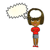 Cartoon woman with folded arms imagining with speech bubble Royalty Free Stock Photography