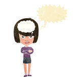 Cartoon woman with folded arms imagining with speech bubble Stock Images