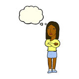 Cartoon woman with folded arms with thought bubble Stock Photo