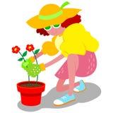Cartoon woman gardening. A cartoon woman planting flowers in a flowerpot Stock Photos
