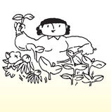 Cartoon woman gardening Stock Image