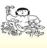 Cartoon woman gardening Stock Image