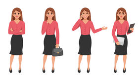 Cartoon Woman Gesture Set royalty free illustration