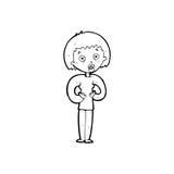 Cartoon woman gesturing at self Royalty Free Stock Image