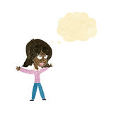 Cartoon woman gesturing with thought bubble Royalty Free Stock Photo