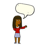 Cartoon woman gesturing to show something with speech bubble Royalty Free Stock Photography
