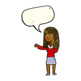 Cartoon woman gesturing to show something with speech bubble Stock Images