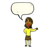 cartoon woman gesturing to show something with speech bubble Royalty Free Stock Images