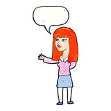 Cartoon woman gesturing to show something with speech bubble Stock Photography