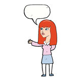 Cartoon woman gesturing to show something with speech bubble Stock Image