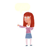 Cartoon woman gesturing to show something with speech bubble Royalty Free Stock Photo
