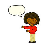 Cartoon woman gesturing welcome with speech bubble Royalty Free Stock Images