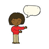 Cartoon woman gesturing welcome with speech bubble Royalty Free Stock Photos