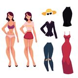 Cartoon woman, girl and her fashionable clothes stock illustration