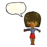 cartoon woman giving thumbs up symbol with speech bubble Royalty Free Stock Images