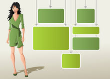 Cartoon woman in green dress Stock Images