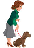 Cartoon woman in green striped sweater and dog on the leash Royalty Free Stock Photography