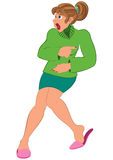 Cartoon woman in green sweater and green skirt Royalty Free Stock Photo