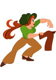 Cartoon woman in green top running after jacket Royalty Free Stock Image