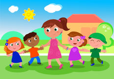 Cartoon woman with group of kids vector Royalty Free Stock Photos