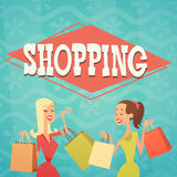 Cartoon Woman Group With Shopping Bag Big Sale Banner Royalty Free Stock Photography