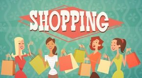 Cartoon Woman Group With Shopping Bag Big Sale Banner Stock Image