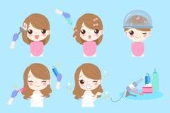 Cartoon woman with hair salon royalty free illustration