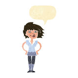 Cartoon woman with hands on hips with speech bubble Stock Photography