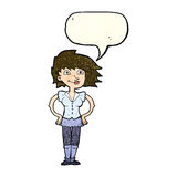 Cartoon woman with hands on hips with speech bubble Stock Photo