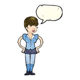 Cartoon woman with hands on hips with speech bubble Stock Image