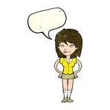 Cartoon woman with hands on hips with speech bubble Stock Photos