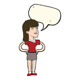 Cartoon woman with hands on hips with speech bubble Royalty Free Stock Photo