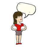 Cartoon woman with hands on hips with speech bubble Royalty Free Stock Photos