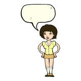 Cartoon woman with hands on hips with speech bubble Stock Images
