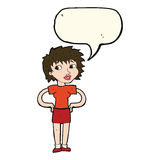 Cartoon woman with hands on hips with speech bubble Royalty Free Stock Photography